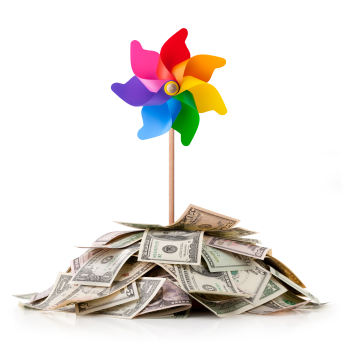 Colorful pinwheel on a pile of money:  get your free special report, 10 Keys to Doubling Your Revenues in Your Accounting Practice