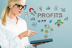 Profits text with business woman