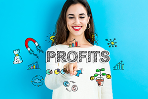 Profits text with young woman on a blue background